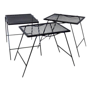 Wrought Iron Nest of Woodard Outdoor Tables