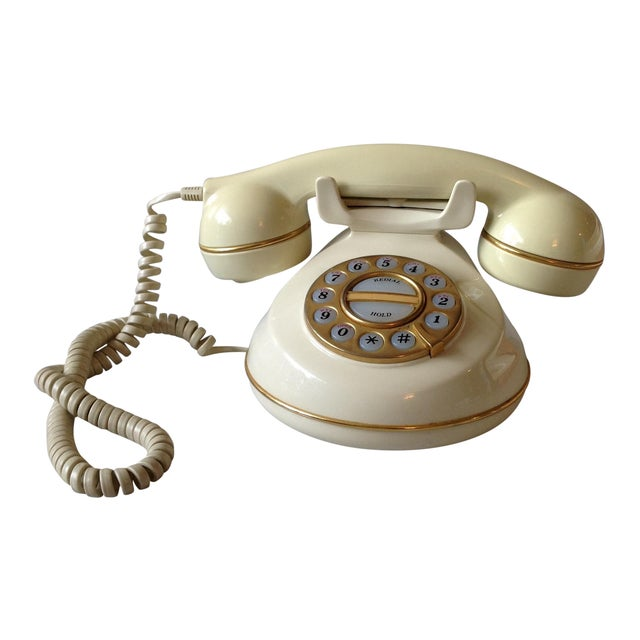 Vintage Cream and Gold Phone - Image 1 of 6