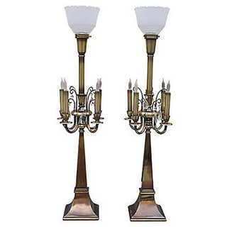 Vintage Italian Provincial 5 Light Lamps - Pair