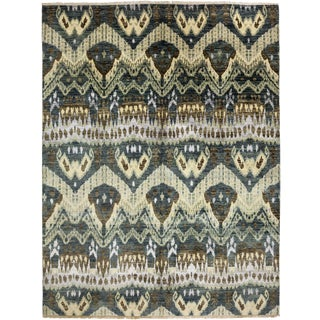 """Ikat, Hand Knotted Area Rug - 7' 10"""" x 10' 4"""""""