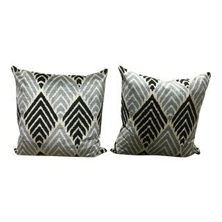 Grey, Black a& White Silk Ikat Euro Pillows - A Pair
