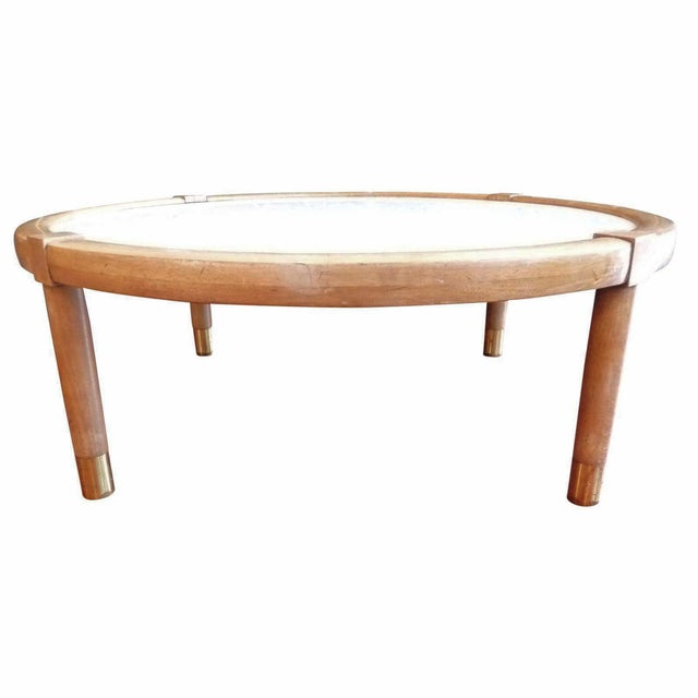 Mid-Century Modern White Marble Coffee Table