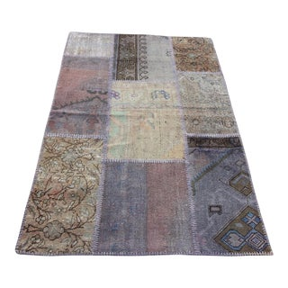 Vintage Turkish Overdyed Patchwork Oushak Rug - 3′3″ × 4′11″
