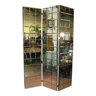 1970s Trellis Pattern Beveled Mirror Folding Screen