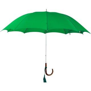 Vintage Green Umbrella With Custom Italian Handle