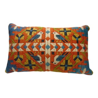Vintage Hand Stitched Bird Accent Pillow Cover