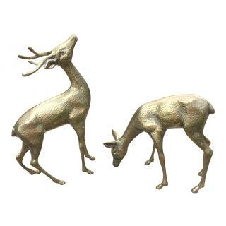 Solid Brass Textured Deer - A Pair