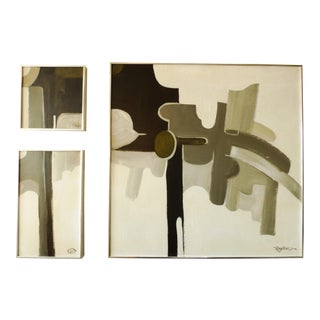 Vintage Abstract Triptych by Rodriguez - Set of 3