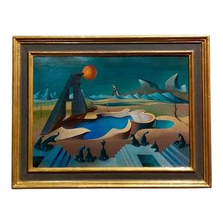Georges Spiro -Surrealist Extra Terrestrial Landscape -Oil painting c.1960s