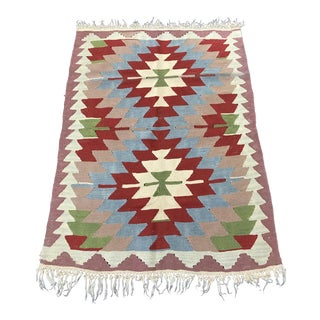 Handmade Flat Woven Wool Kilim Rug - 3'1''x4'1''