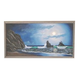 Night Ocean Moonscape Original Oil on Canvas