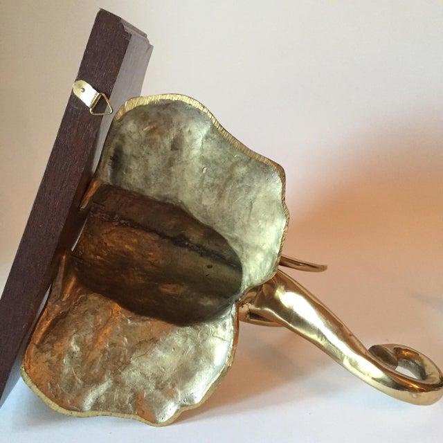 Brass and Wood Elephant Shelf - Image 7 of 9