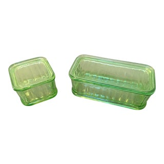 Green Depression Glass Storage Containers - a Pair
