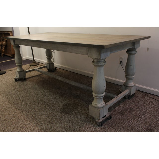Primitive French Country Dining Table - Image 2 of 11
