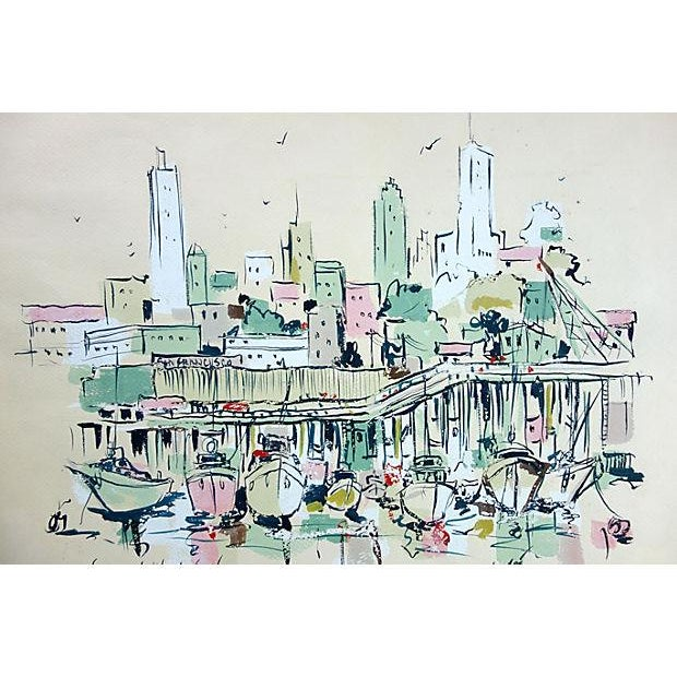 Image of Watercolor of Fishermen's Wharf, San Francisco