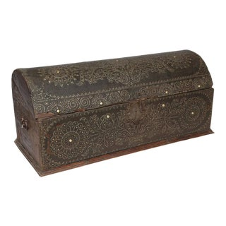 19th Century Dome Top Leather and Wood Trunk with Brass Studs