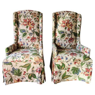 Linen Parsons Chairs in Floral - A Pair
