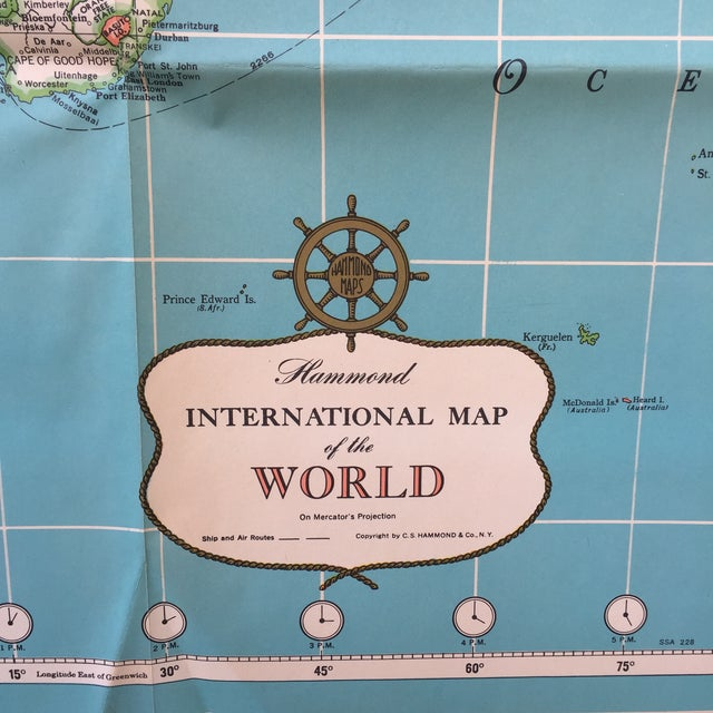 Vintage International Map of the World by Hammond - Image 4 of 10