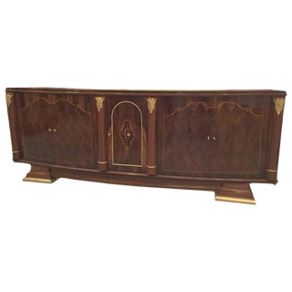 French Art Deco Walnut Five-Door Buffet