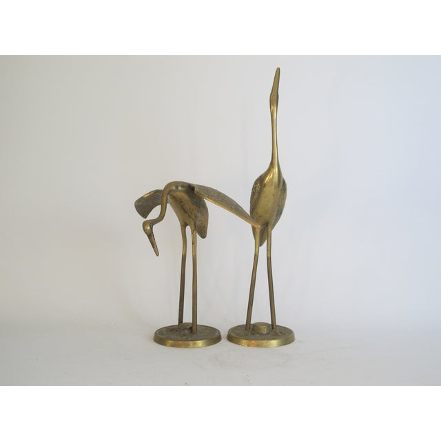 Hollywood Regency Brass Cranes on Stands - A Pair - Image 4 of 4