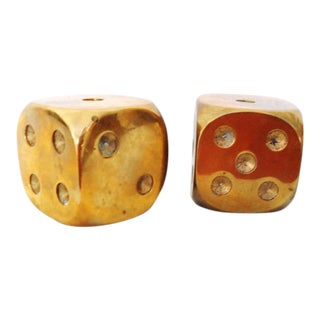 Large Solid Brass Dices, Oversize - A Pair