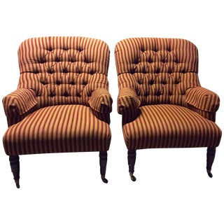 Vanguard Burgundy & Gold Tufted Wing Chairs - Pair