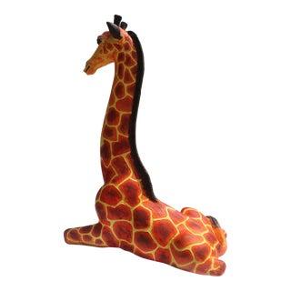 Vintage Seated Giraffe Floor Or Table Sculpture .