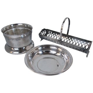 Silver-Plate Wine, Crackers & Dip Set