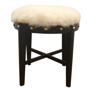 Faux Fur Wooden Stool