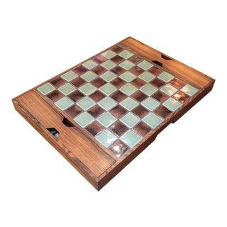 1960s Danish Rosewood & Ceramic Chess Board