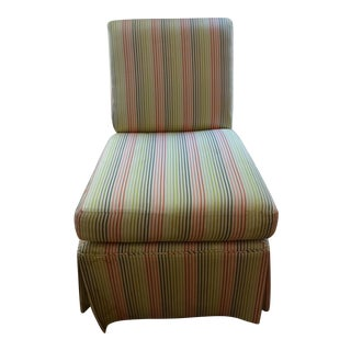 Stripped High Back Slipper Chair