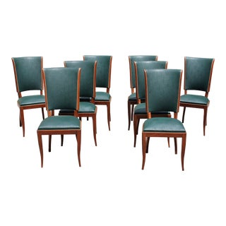 Suite of Eight French Art Deco Mahogany Dining Chairs ,circa 1940.