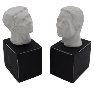 Plaster Sculptural Bookends on Black Bases - Pair