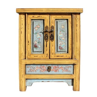 Chinese Yellow Gray Fishes End Table Nightstand