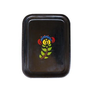 1970s Hand-Painted Flower Tray