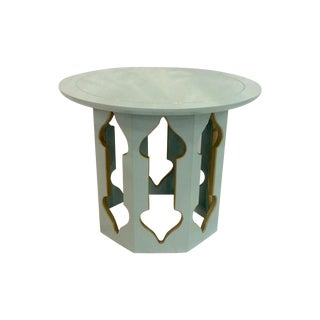 Grey Lacquered Moroccan-Style Side Table