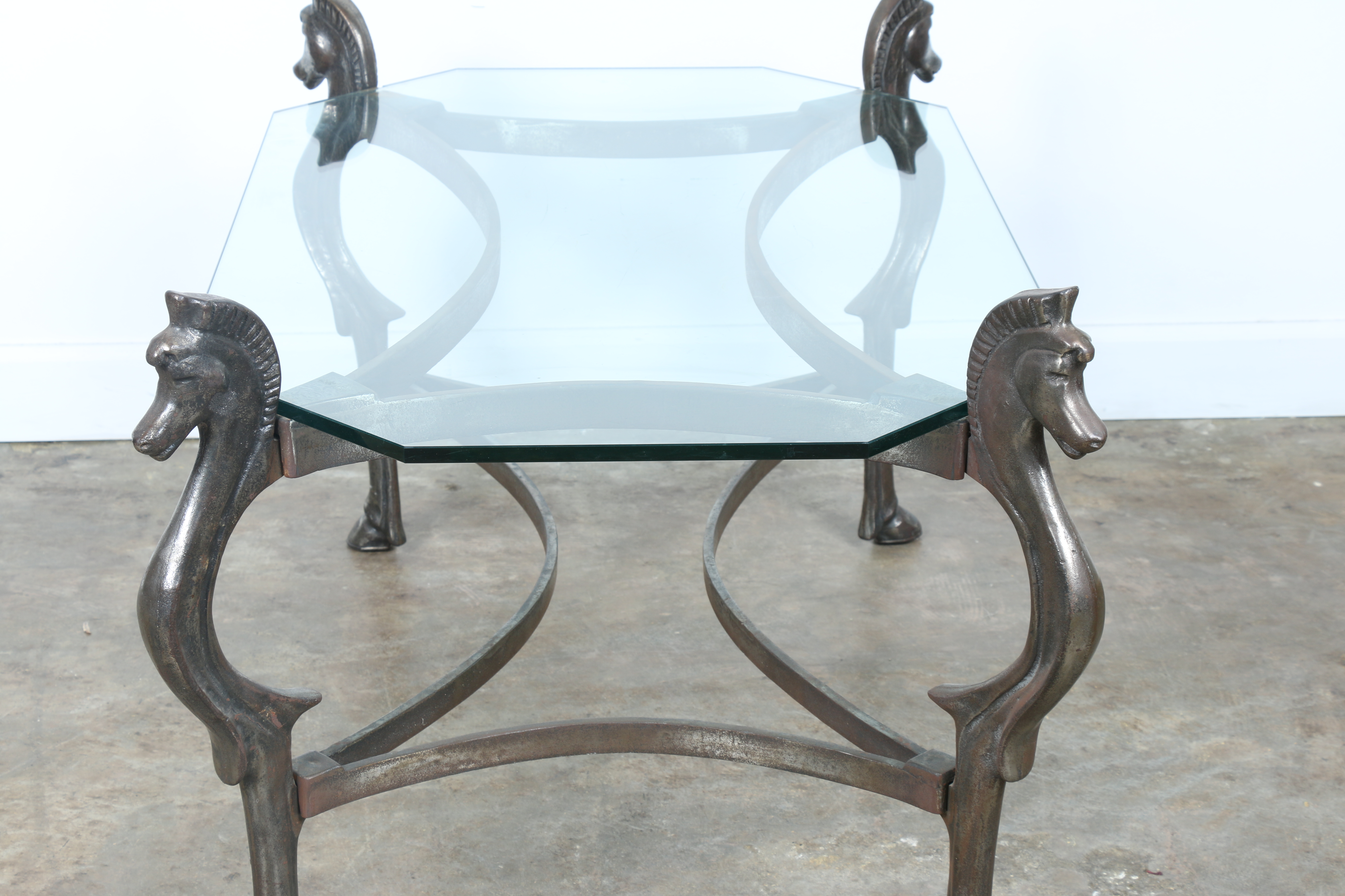 Wrought Iron Glass Top Horse Coffee Table   Image 9 Of 11