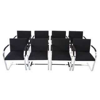 Brueton Chrome and Black Wool Chairs - Set of 8