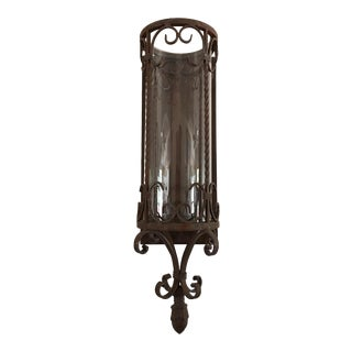 Antique Cast Iron & Glass Wall Sconce