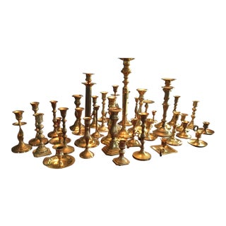 Vintage Brass Candlesticks - Set of 40