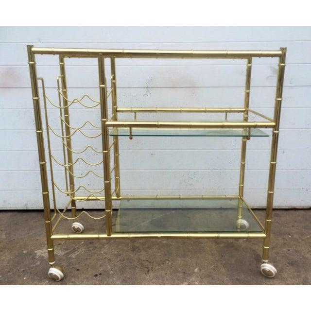 Image of Brass Faux Bamboo Bar Cart