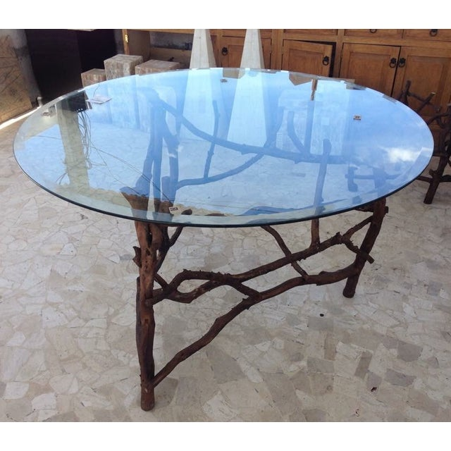 Rift Wood and Glass Round Dining Table - Image 2 of 5