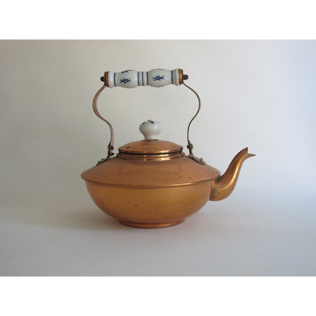 French Copper & Ceramic Teapot - Image 3 of 7