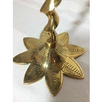 Image of Brass Spiral and Leaf Candle Holders - A Pair