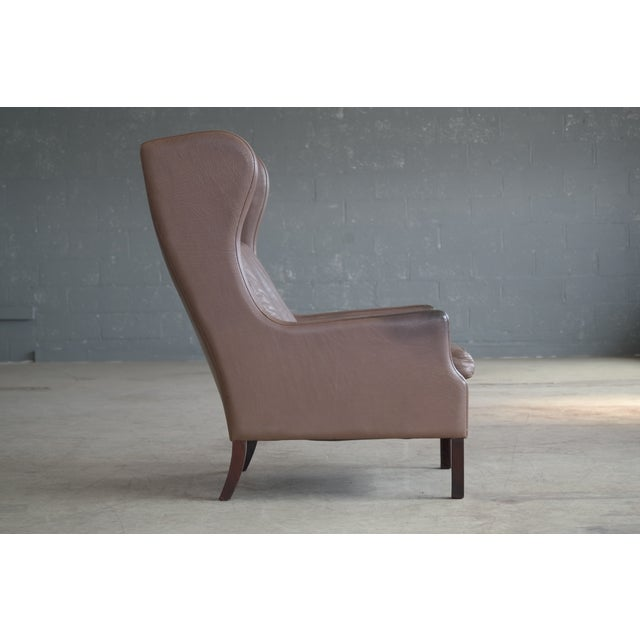 Borge Mogensen Style Leather Wingback Chair - Image 5 of 8