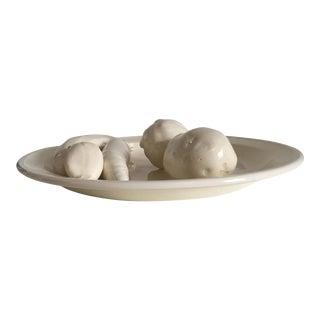 Ceramic Cream-On-Cream Relief Plate of Vegetables