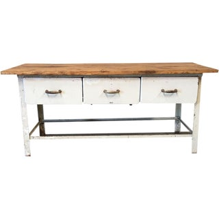 Antique Metal Scrub Top Work Table