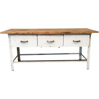 Antique Metal Scrub Top Work Table