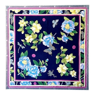 Industrial Style Adrienne Landau Navy Floral Insect Silk Scarf