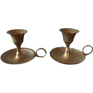 Brass Chamberstick Candle Holders - A Pair